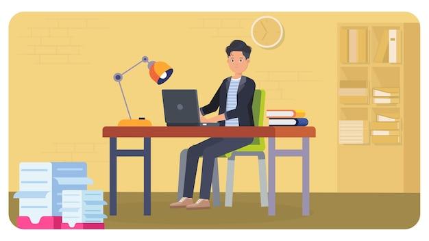 Travailler à la maison illustration intérieure