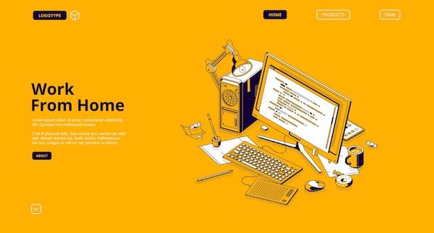 Travailler à partir de la page de destination isométrique à domicile
