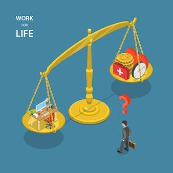 Travailler pour la vie illustration vectorielle plane isométrique.