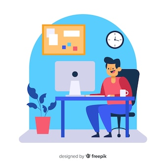 Travailleur assis au bureau