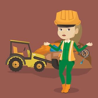 Travailleur et bulldozer au dépotoir.