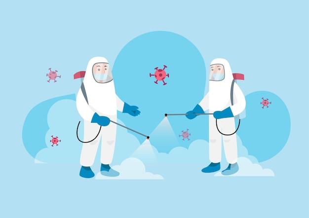 Travailleur en combinaison de protection contre les matières dangereuses pulvérisant le virus de nettoyage et de désinfection