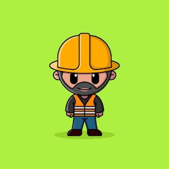 Travailleur de la construction barbu avec mascotte de personnage de logo de gilet de sécurité