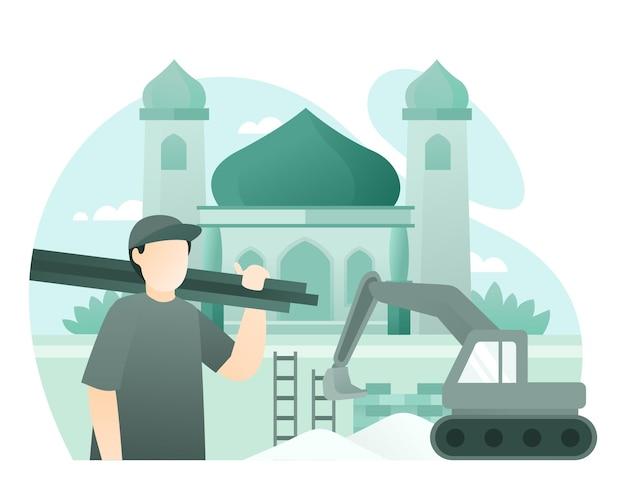 Travailleur de la construction, construction d'une mosquée à l'aide d'une illustration d'excavatrice