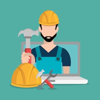 Travailleur en construction avec ordinateur portable