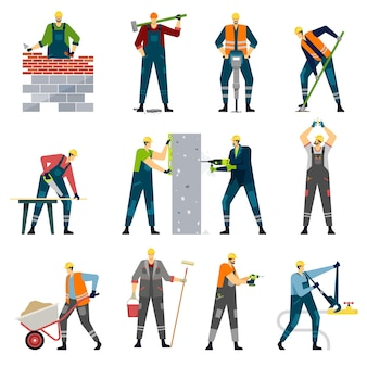 Travailleur de la construction avec des outils professionnels constructeurs de maisons charpentier peintre ensemble de vecteurs de réparation