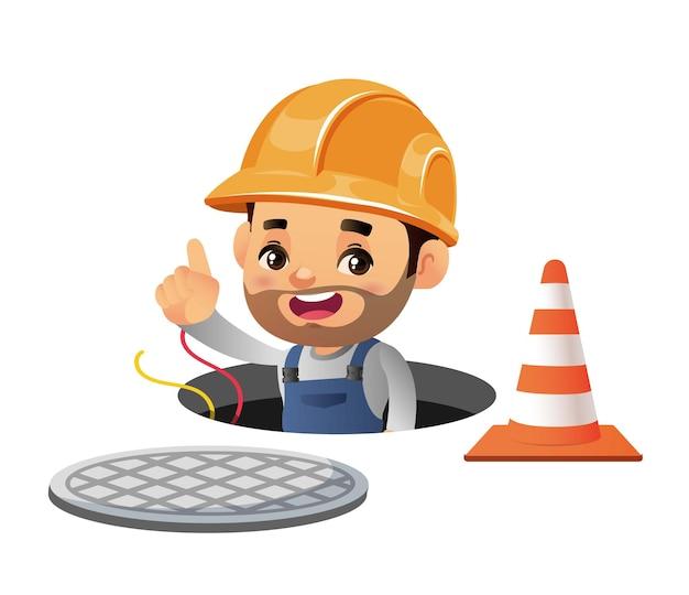 Travailleur de la construction avec des poses différentes