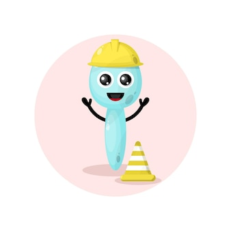 Travailleur de la construction scoop mignon personnage