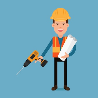 Travailleur de la construction tenant une perceuse et des documents de plan.