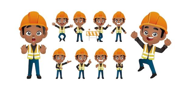 Travailleur défini différentes poses et gestes