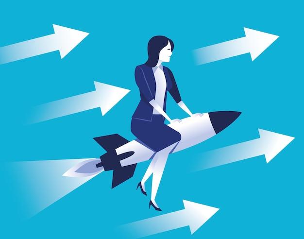 Travailleur élégant de femme d'affaires volant en fusée avec illustration de flèches