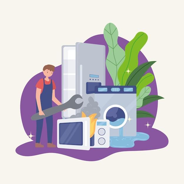 Travailleur et endommager les appareils