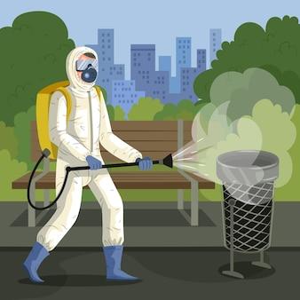 Travailleur fournissant un service de nettoyage dans les espaces publics