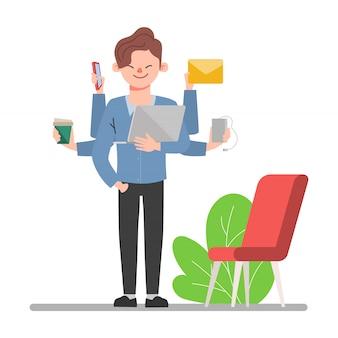 Travailleur de gens d'affaires avec des vêtements de chemise. scène d'animation de personnage de bureau homme.