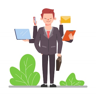 Travailleur de gens d'affaires avec des vêtements de costume. scène d'animation de personnage de bureau homme.
