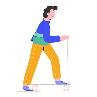 Travailleur de l'homme de retour au travail avec son illustration de scooter
