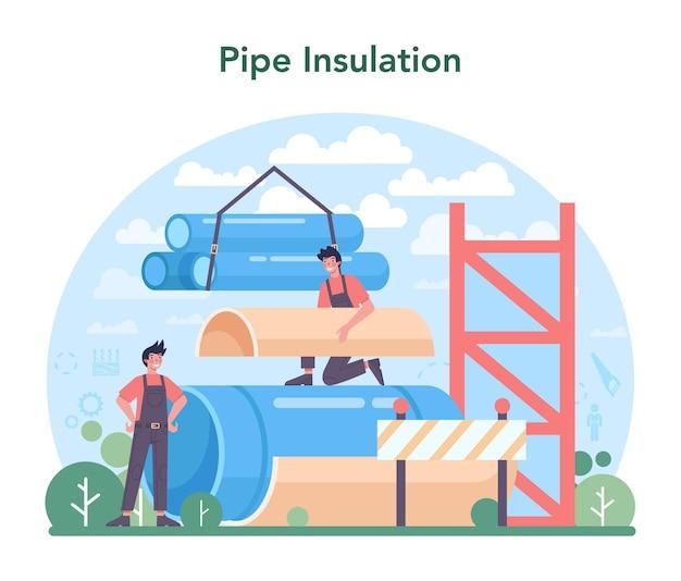 Travailleur d'isolation thermique ou acoustique de concept d'isolation de tuyau mettant