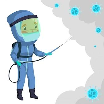 Travailleur médical avec combinaison de matières dangereuses désinfectant pour pousses pendant la stérilisation