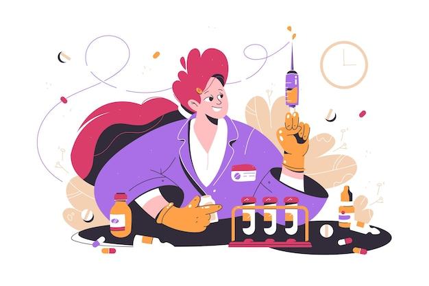 Travailleur médical, infirmière, tenue, seringue, vecteur, illustration