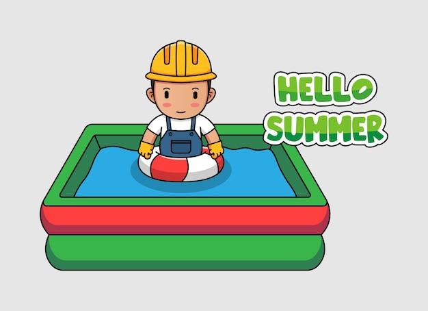 Travailleur mignon nageant avec la bannière de voeux d'été bonjour