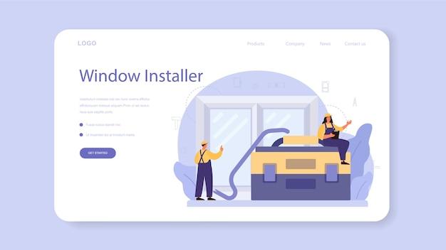 Travailleur en modèle web de fenêtre d'installation uniforme ou page de destination. service professionnel, équipe de réparateurs. service de construction, rénovation de maison.