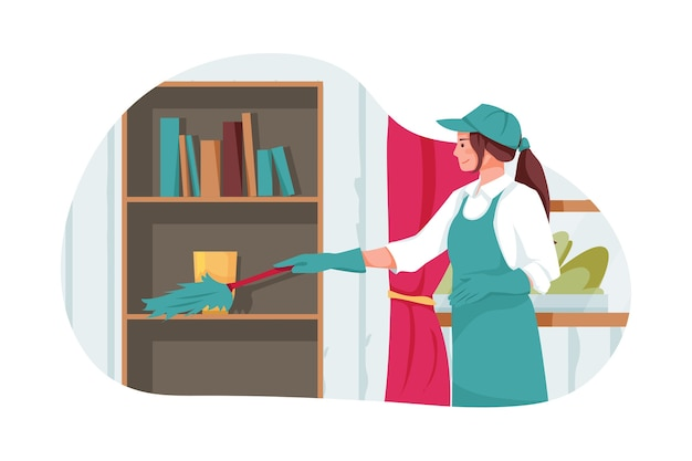 Le travailleur de nettoyage nettoie le bureau avec une brosse à plumes