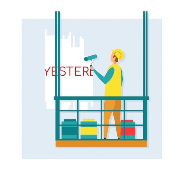 Travailleur, peinture, mur, debout, dans, bâtiment, gondole.