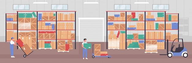 Travailleur de personnes travaillant dans l'illustration de l'entrepôt. personnages du personnel de l'entreprise d'entreposage plat de dessin animé emballant des boîtes à colis dans l'intérieur du hangar d'entrepôt, arrière-plan de travail de stockage de service logistique