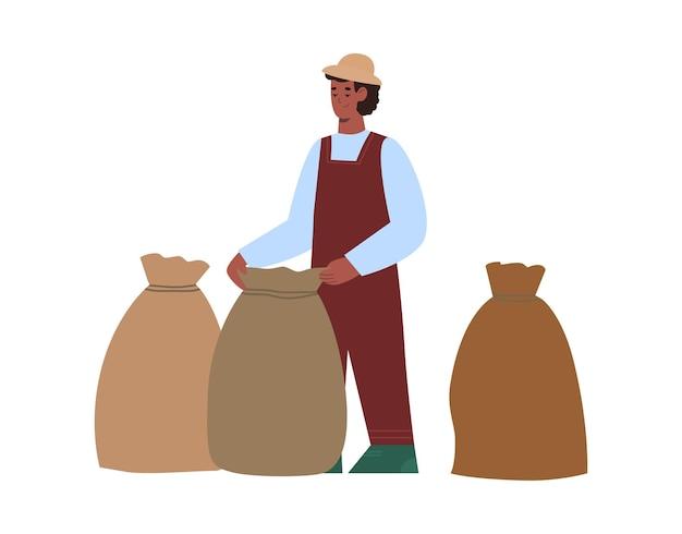 Le travailleur de la plantation recueille le café dans l'illustration de dessin animé de sacs d'isolement