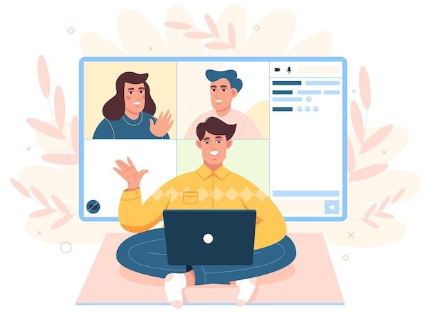 Le travailleur à plat organise une réunion en ligne, un team building virtuel ou une vidéoconférence au bureau à domicile.