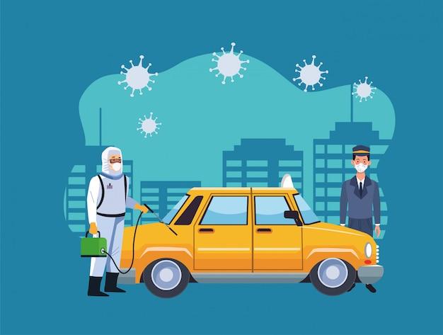 Travailleur en prévention des risques biotechnologiques avec taxi désinfectant pour pulvérisation pour la prévention covid19