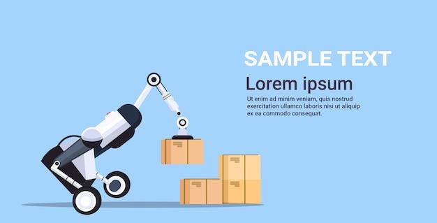 Travailleur robotique chargement des boîtes en carton hi-tech smart factory robot intelligence artificielle logistique automatisation technologie concept copie espace horizontal