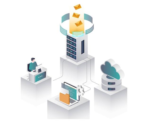 Travailleur avec serveur et cloud en illustration isométrique