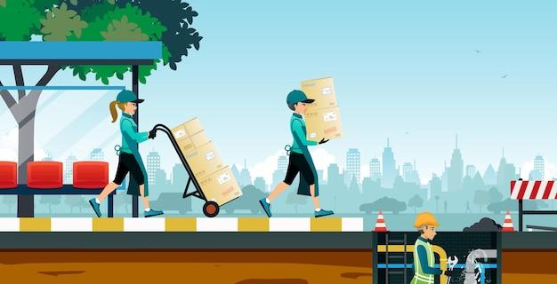 Un travailleur transportait un carton sans savoir que l'égout réparait