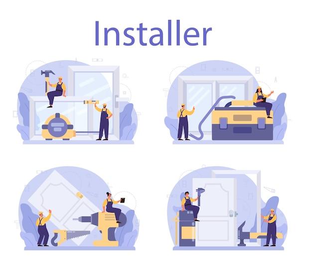 Travailleur en uniforme installer l'ensemble de portes et fenêtres
