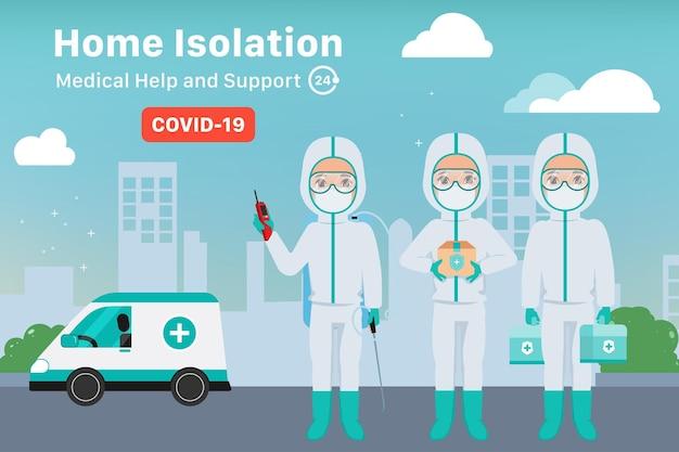 Un travailleur d'urgence d'isolement à domicile aide et soutient le patient pendant la maladie de covid19