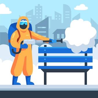 Travailleurs assurant le nettoyage