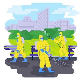 Travailleurs assurant un service de nettoyage dans les espaces publics