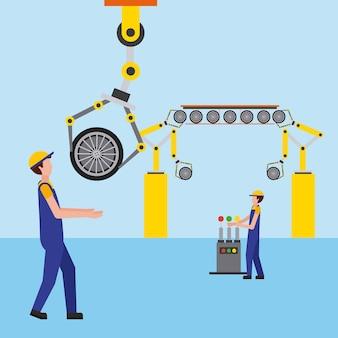 Travailleurs de l'automobile en train d'installer des pneus industrie automobile
