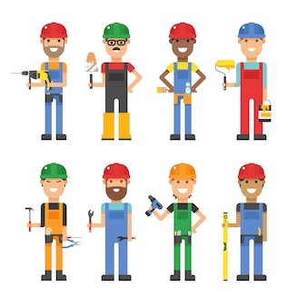 Travailleurs de la bande dessinée et autres outils sous illustration vectorielle de construction
