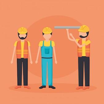 Travailleurs de la construction avec blueprint