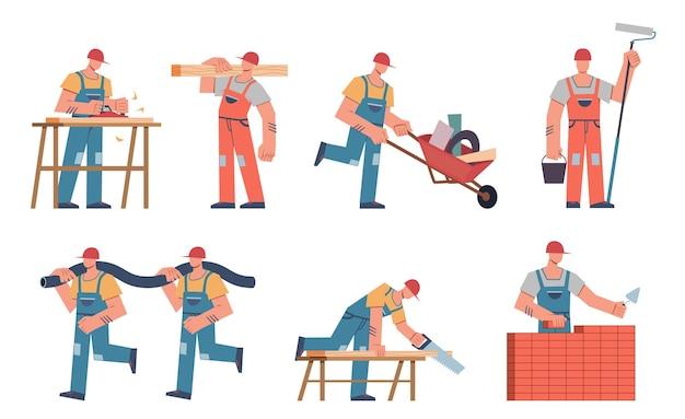 Travailleurs de la construction en casque et uniforme avec des outils et du matériel professionnel