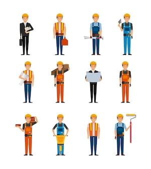 Travailleurs de la construction dessin animé jeu d'icônes