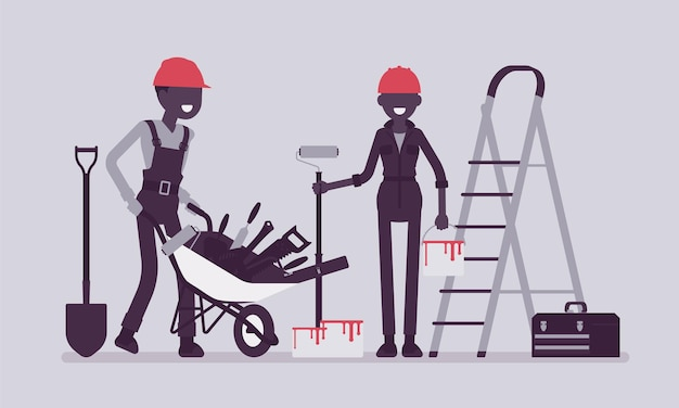 Travailleurs de la construction avec équipement professionnel