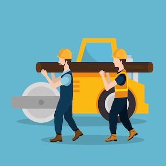 Travailleurs de la construction avec des icônes en construction