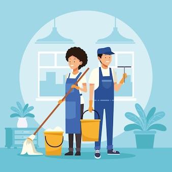 Travailleurs de couple de ménage avec vadrouille et seau