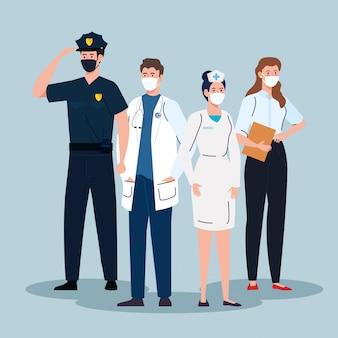 Les travailleurs du groupe portant un masque médical contre la pandémie