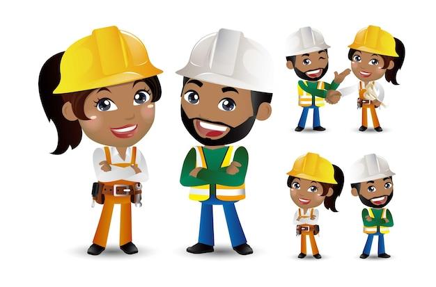 Les travailleurs ensemble et se serrent la main.