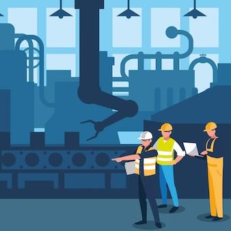 Travailleurs d'équipe dans la scène de l'usine