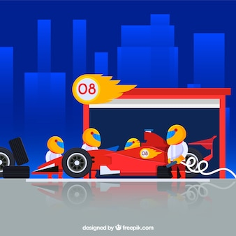 Travailleurs de la formule 1 pit stop avec un design plat